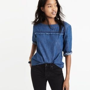 Madewell Denim 3/4 Sleeve Frayed Popover Top M